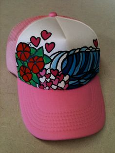 df85110c479cd Items similar to Hand Painted Surf Love Hibiscus Trucker Hat on Etsy