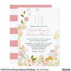 Pink Flower Bouquet Spring Wedding Invitation