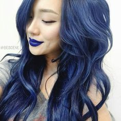 Navy blue hair rinse by make up blue navy hair hair dye colorful. Hot Hair Colors, Hair Color Blue, Cool Hair Color, Best Hair Dye, Dye My Hair, Pelo Color Azul, Navy Blue Hair, Denim Blue Hair, Dark Denim
