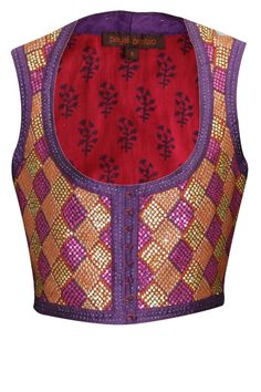 Payal Pratap- Purple diamond pattern sequins embroidered waist jacket available only at Pernia's Pop Up Shop.