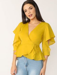 Flutter Cuffed Sleeve V-Neck Wrap Blouse Flutter Cuffed Sleeve V-Neck Wrap Blouse SheIn informs you on the latest fashion trends and brings you the hottest [. Cute Blouses, Shirt Blouses, Blouses For Women, Blouse Styles, Blouse Designs, Shein Dress, Sleeves Designs For Dresses, Wrap Blouse, Shirts & Tops