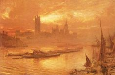 """Painting of the Day! Albert Goodwin (1845-1932) """"Wesminster"""" Watercolour To see more works by this artist please visit us at: http://www.artrenewal.org/pages/artwork.php?artworkid=32425&size=large"""