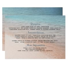 Seaside Destination Wedding Details Card - wedding invitations cards custom invitation card design marriage party