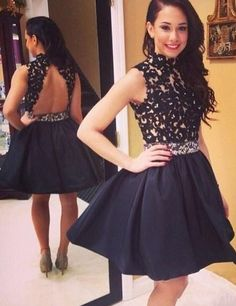 Black high neck lace short prom gown, homecoming dress for teens, modest short prom gown