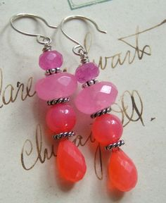 @-->----- { .e a r r i n g s. }      ~ dangling from handmade french sterling earhooks are beautiful juicy hand-faceted vibrant melon chalcedony round briolettes topped with matching round chalcedony