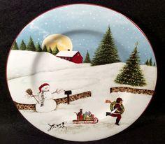 Sakura CHRISTMAS VALLEY Salad Plate Ref A Village Scene Dinnerware David Carter Brown Design 8 1/4 inches & Sakura CHRISTMAS VALLEY Salad Plate Ref C Village Scene Dinnerware ...