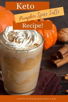 Easy Keto Pumpkin Spice Latte-Save Money Pumpkin Spiced Latte Recipe, Pumpkin Spice Latte, Pumpkin Puree, Pumpkin Recipes, Low Carb Keto, Low Carb Recipes, Cinnamon Coffee, Low Carb Sweeteners, Almond Cookies