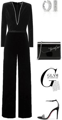 glam Outfit | ShopLook Nye Outfits, New Years Eve Outfits, Fashion Outfits, Outfit Maker, Suede Sandals, Bella, Jimmy Choo, Work Wear, Jumpsuit