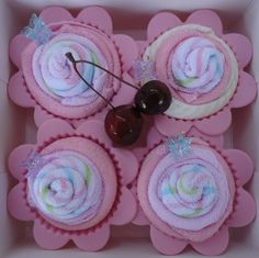 Wash cloth cupcakes