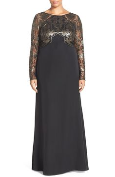 Free shipping and returns on Tadashi Shoji Sequin Embroidered Crepe Gown with Train (Plus Size) at Nordstrom.com. Ornate sequinembroidery creates glamorous shimmer on the bodice and illusionsleeves of this contemporary A-line gown cut from fluid crepe. Precise angular patterningelongates and slims the figure, while a short floor-sweeping train adds timeless grace.