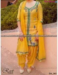Give yourself a stylish & designer look with this Designer Yellow Embroidered Punjabi Suit. Available with matching bottom & dupatta. It will make you noticable in special gathering. You can design this suit in any color combination or in any fabric. Just whatsapp us for more details. For more details whatsapp us: +919915178418