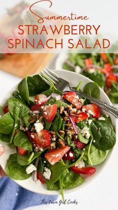 Spinach Strawberry Salad, Spinach Salad Recipes, Salad Recipes For Dinner, Healthy Salad Recipes, Vegetarian Recipes, Cooking Recipes, Strawberry Salad Recipes, Pomegranite Salad, Salads