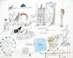 "Saul Steinberg, ""Inventory"", 1967 - Ink and watercolor on paper, 22 x 28"""