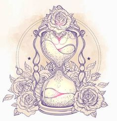 Illustration of Decorative antique hourglass with roses illustration isolated on white. Sketch for dotwork tattoo, hipster t-shirt design, vintage style posters. Coloring book for adults. vector art, clipart and stock vectors. Key Tattoos, Watch Tattoos, Celtic Tattoos, Unique Tattoos, Body Art Tattoos, Clock Tattoos, Sailor Tattoos, Arabic Tattoos, Tattoo Symbols