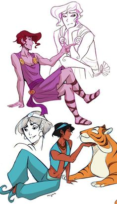 "Genderbent Disney characters by miyuli.tumblr.com - Male versions of Megara from ""Hercules"" and Jasmine from ""Aladdin""."