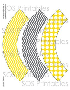 Gray and Yellow Chevron and Polkadots Cupcake Wrapper - Printable PDF - Instant Download - Immediate Download