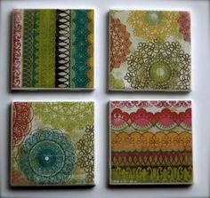 Fun Printed Tile Coasters  Set of 4 by MurphysMarket on Etsy