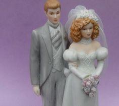 Vintage 1980's Bride and Groom Cake Topper.  .