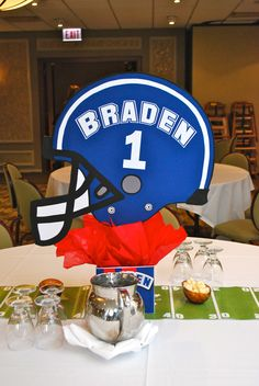 """Use """"wolves"""" and cut out of helmet shapes for each sport. Nfl Party, Skate Party, Sports Party, Football Banquet, Football Themes, Football Spirit, Football Stuff, Football Centerpieces, Party Centerpieces"""