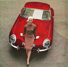 Model Bobo White in front of a vintage Jaguar, photo Marc Dimac, 1964