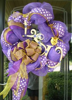 LSU football wreath made with deco mesh