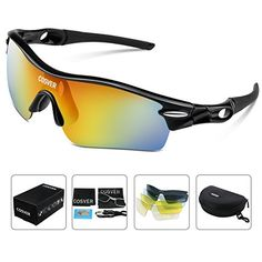 66b301530c7 Amazon.com  COSVER Fashion Polarized Sports Sunglasses with 5 Lenses for Men  Women Driving Cycling Running Tactical Glasses (Black Yellow