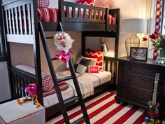 Striped-Red-and-White-Duvets-Completed-with-Buffalo-Check-Pillows-and-Bolsters-Supporting-for-Dramatic-Style-Bedroom.jpg