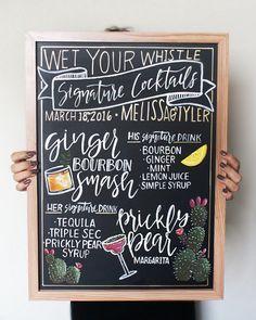 Signature Drink Wedding Bar Sign  Wet your Whistle! _________________________________________________________________________  *THE DETAILS* Juice Menu, Drink Menu, Bar Drinks, Beverages, Chalkboard Lettering, Chalkboard Designs, Chalkboard Wedding, Wedding Signature Drinks, Signature Cocktail