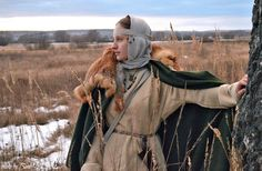 Medieval Slavic costume of Ancient Russia: Slovens from Novgorod European Tribes, Viking Dress, Early Middle Ages, Period Outfit, Iron Age, Movie Costumes, Dark Ages, Historical Costume, Celtic