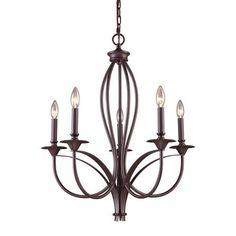 61032-5   Medford 5 Light Chandelier In Oiled Bronze - 61032-5