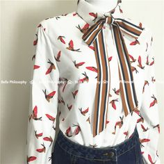 2015 autumn winter birds full print bow tie women white shirt blouses long sleeve real photo-in Blouses & Shirts from Women's Clothing & Accessories on Aliexpress.com | Alibaba Group