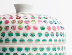 Sandblasting dots out of ceramics