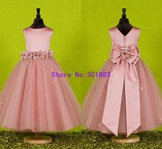 G031 Free Shipping 2013 Bow Stylish Deaded Ball Gown Pink Cute Flower Girl Dresses For Wedding US $78.00