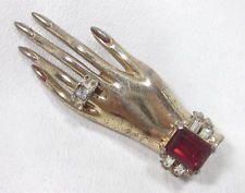 Vtg CORO Craft Vermeil Sterling Silver Adolph Katz Friendship Hands Brooch Pin