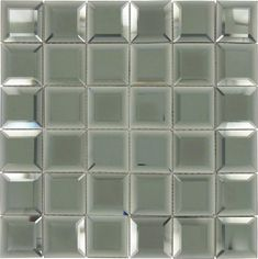 """Hematite Squares Grey 2"""" x 2"""" Glossy & Frosted Glass Mirror Tile Bath Tiles, Mirror Tiles, Frosted Glass Texture, Unique Tile, Tile Installation, Mosaic Glass, Squares, Coupon, Grey"""