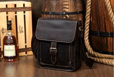 Handmade Leather messenger bag, leather shoulder bag, leather briefcase IPAD bag (M106)