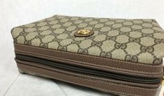5fd35213598cc8 Vintage Gucci brown GG monogram Supreme pouch cosmetic bag toiletry bag  clutch