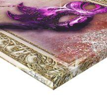 Elegant Purple & Gold masquerade mask Stretched Canvas Prints
