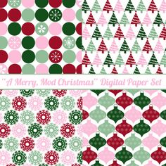 """Just Peachy Papers: Free """"Merry, Modest Christmas"""" Digital Paper Set"""
