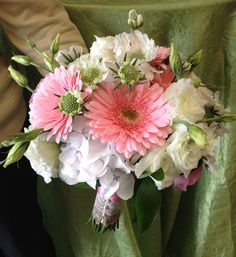 Pink Gerber Daisys, Lisianthus, Scabiosa Daisys