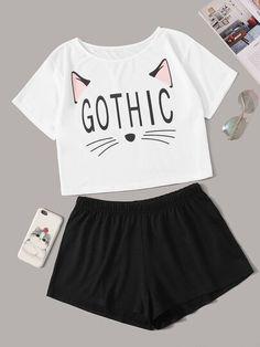 Cat & Letter Print Pajama Set - Pajama Sets - Ideas of Pajama Sets Girls Fashion Clothes, Teen Fashion Outfits, Outfits For Teens, Cute Pajama Sets, Cute Pajamas, Cute Lazy Outfits, Trendy Outfits, Cute Sleepwear, Loungewear