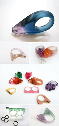 resin rings by the Philippines' Anja Guggenheim. Plastic Jewelry, Resin Jewelry, Jewelry Art, Jewelry Rings, Jewelery, Jewelry Accessories, Contemporary Jewellery, Modern Jewelry, Unique Jewelry