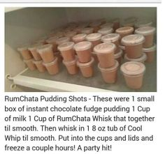 choc fudge pudding, 1 cup of milk, 1 cup of Rumchata(?) or other liquor. Rumchata Pudding Shots, Jello Pudding Shots, Jello Shots, Rumchata Recipes, Rumchata Cupcakes, Party Drinks, Cocktail Drinks, Fun Drinks, Alcoholic Drinks