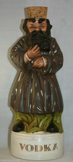 Vintage Hand Painted #Vodka Decanter Bearded Man '70s Unique Barware Ceramic @MagnumVintage&Thrift #ebay