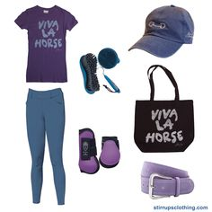 Purple and washed blue outfit. Stirrups Clothing Company equestrian t-shirt, tote bag, and washed cap.
