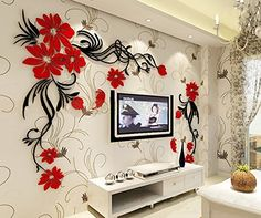 3d Flower and Vine Wall Murals for Living Room Bedroom Sofa Backdrop Tv Wall Background, Originality Stickers Gift, DIY Wall Decal Wall Decor Wall Decorations (Red, Large), http://www.amazon.com/dp/B014GMC5M8/ref=cm_sw_r_pi_awdm_4Vsvwb0JKF4D1