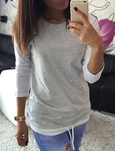 Stylish Scoop Neck Long Sleeve Color Block Drawstring Women's T-Shirt| Nastydress' 8% off Coupon: NDCPP01