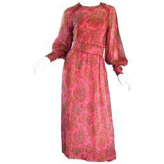 Adele Simpson 1970s Pink Silk Chiffon Paisley Bishop Sleeve Vintage Maxi Dress 1
