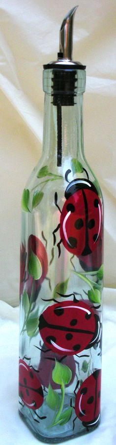 Hand Painted Mailboxes, Trash Cans and More from Bick-Lane Creations Glass Bottle Crafts, Wine Bottle Art, Painted Wine Bottles, Painted Wine Glasses, Bottles And Jars, Altered Bottles, Bottle Painting, Jar Crafts, Glass Art