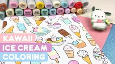 I'm back - yayy! And here is a happy little coloring video for you! This is a doodle from my KiraKira Foodies & Cuties Coloring Book! Hazelnut Ice Cream, Love Ice Cream, Ice Cream Flavors, Banana Split, Cookies And Cream, More Cute, Doodle Art, Coloring Books, Doodles